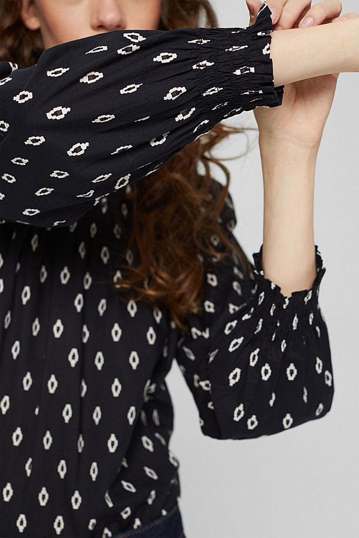 Gesmokte blouse met print van organic cotton, BLACK, detail image number 2