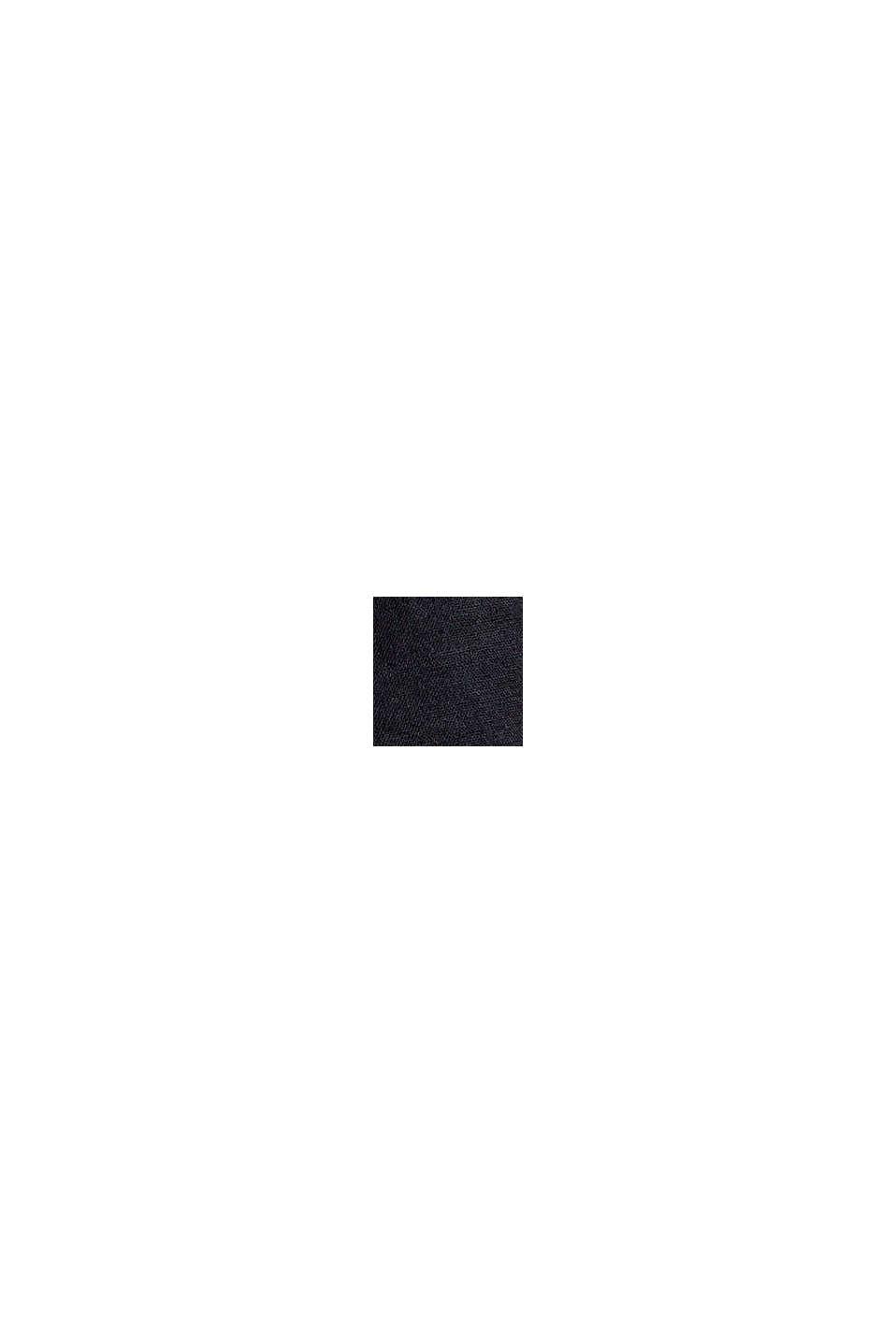Smocksyet printbluse af økologisk bomuld, BLACK, swatch