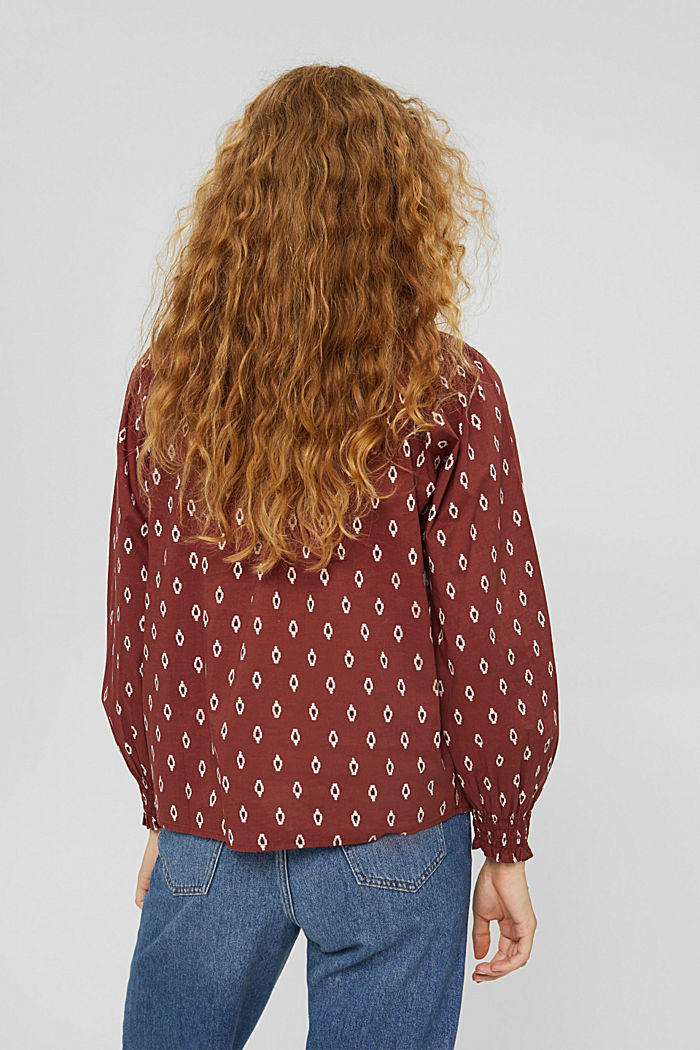 Gesmokte Print-Bluse aus Organic Cotton, GARNET RED, detail image number 3