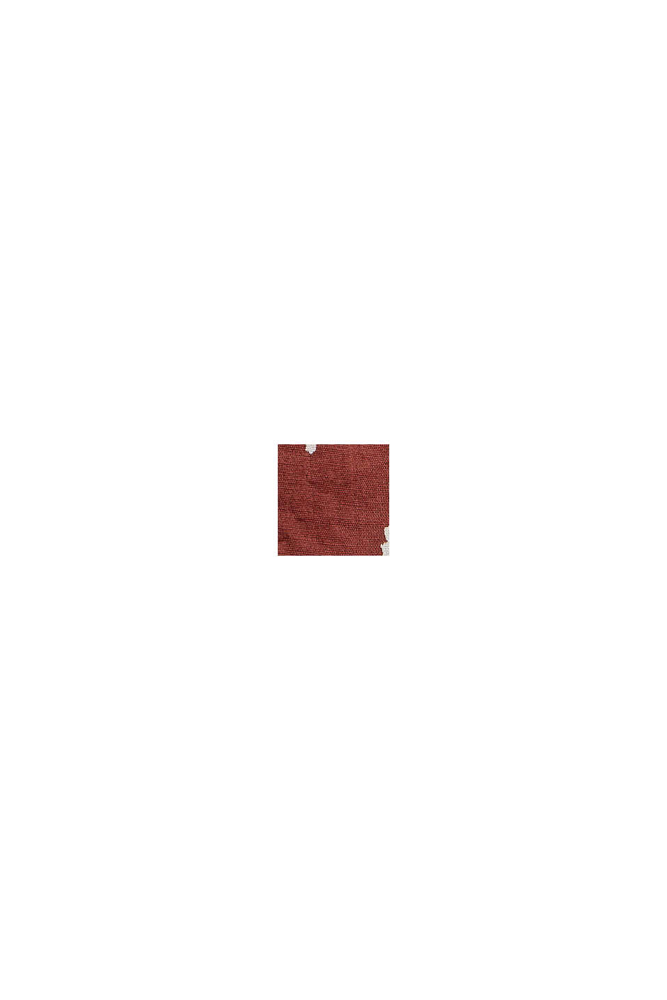 Smocksyet printbluse af økologisk bomuld, GARNET RED, swatch