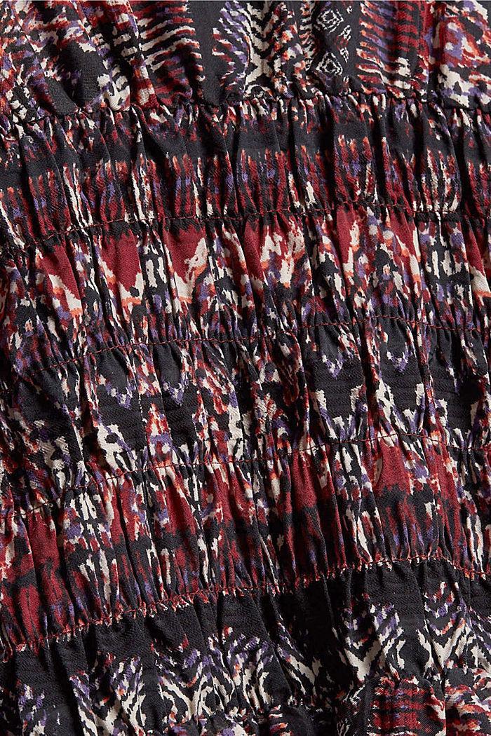 Blouse met print en gesmokte details, GARNET RED, detail image number 4