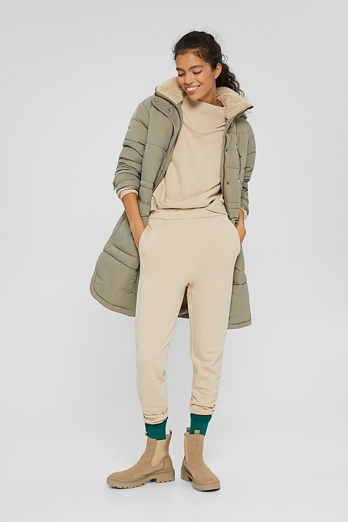 Recycled: padded parka with plush