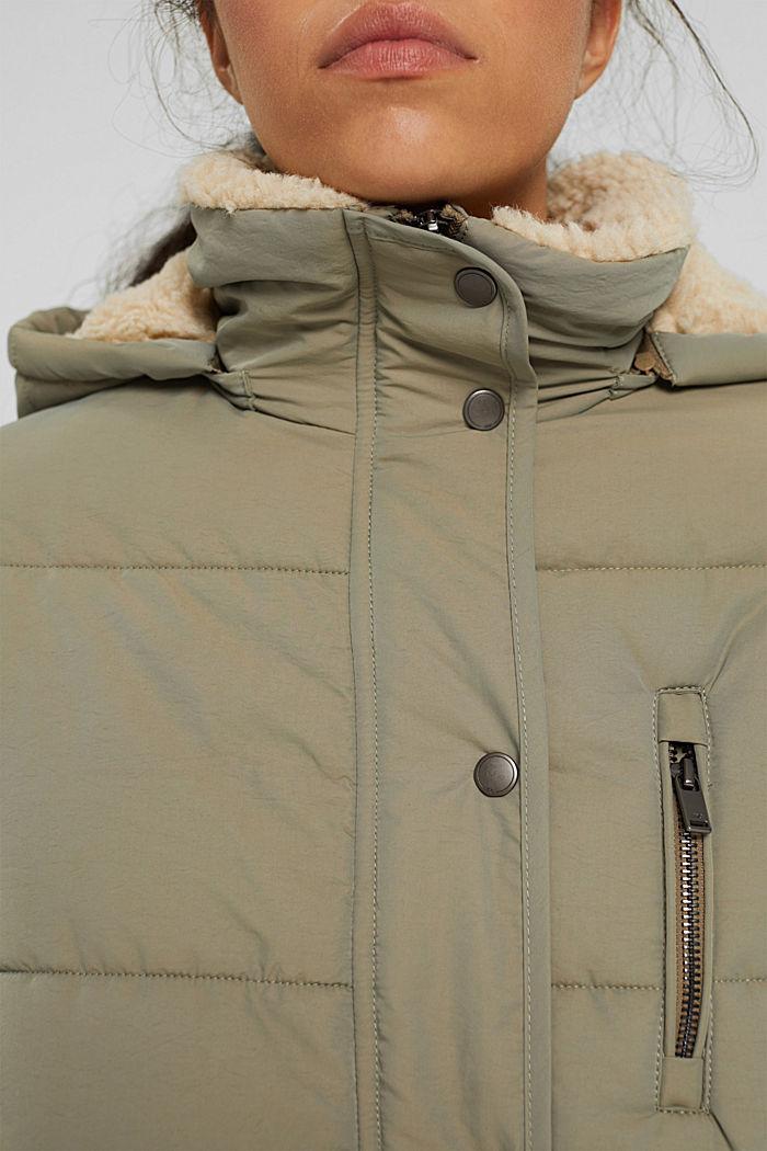 Gerecycled: gewatteerde parka met teddy, LIGHT KHAKI, detail image number 2