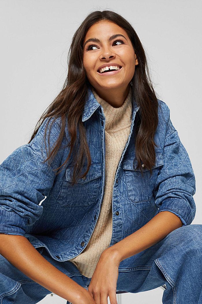 Shacket imbottita effetto jeans