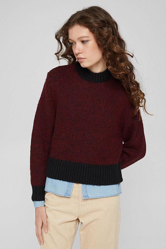 Mit Wolle: zweifarbiger Pullover, GARNET RED, detail image number 0