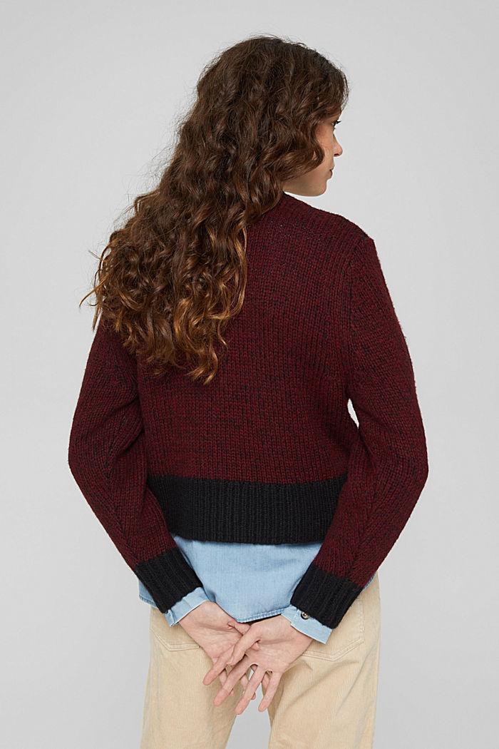 Mit Wolle: zweifarbiger Pullover, GARNET RED, detail image number 3
