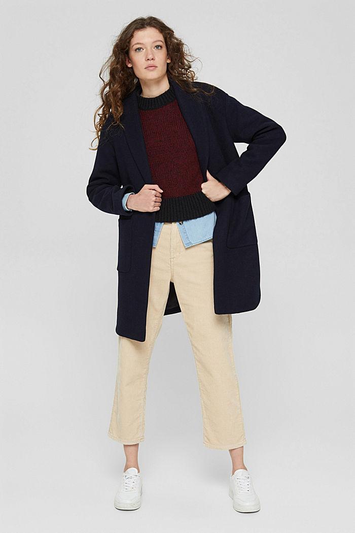 Mit Wolle: zweifarbiger Pullover, GARNET RED, detail image number 1