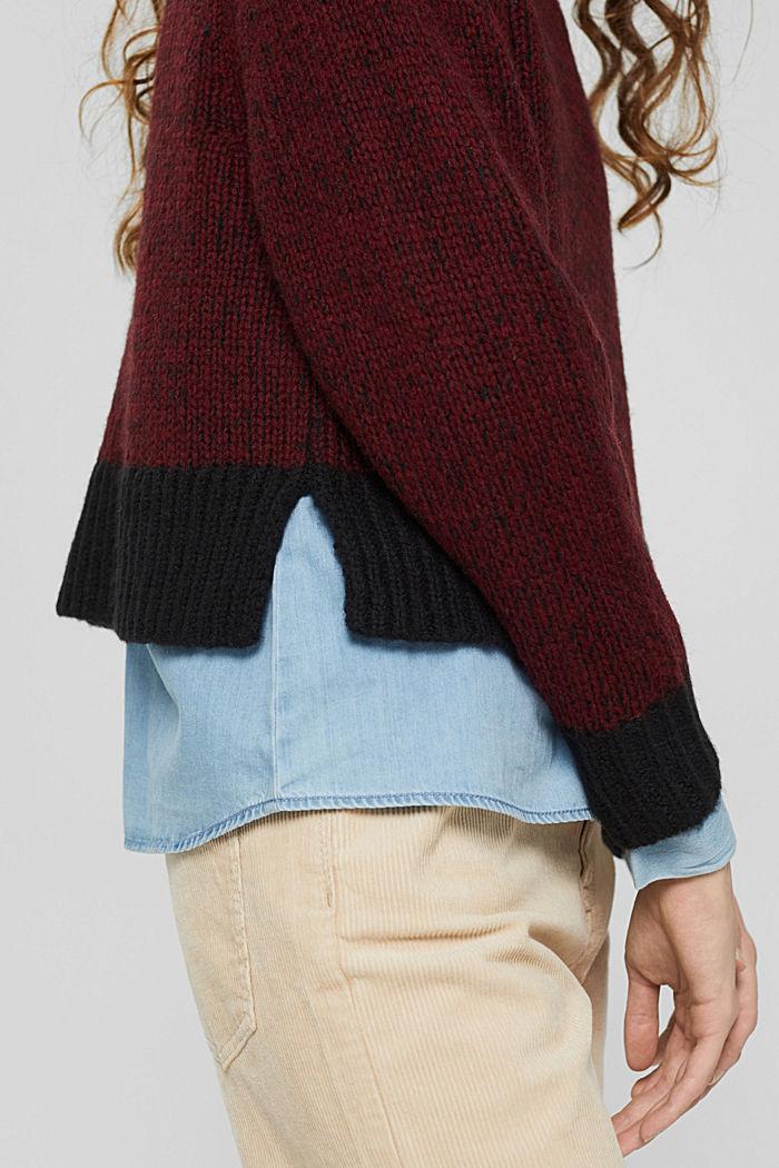 Mit Wolle: zweifarbiger Pullover, GARNET RED, detail image number 2