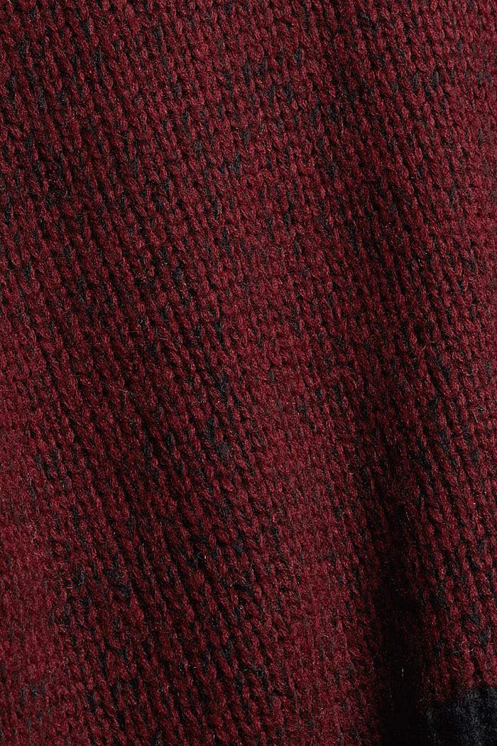 Mit Wolle: zweifarbiger Pullover, GARNET RED, detail image number 4