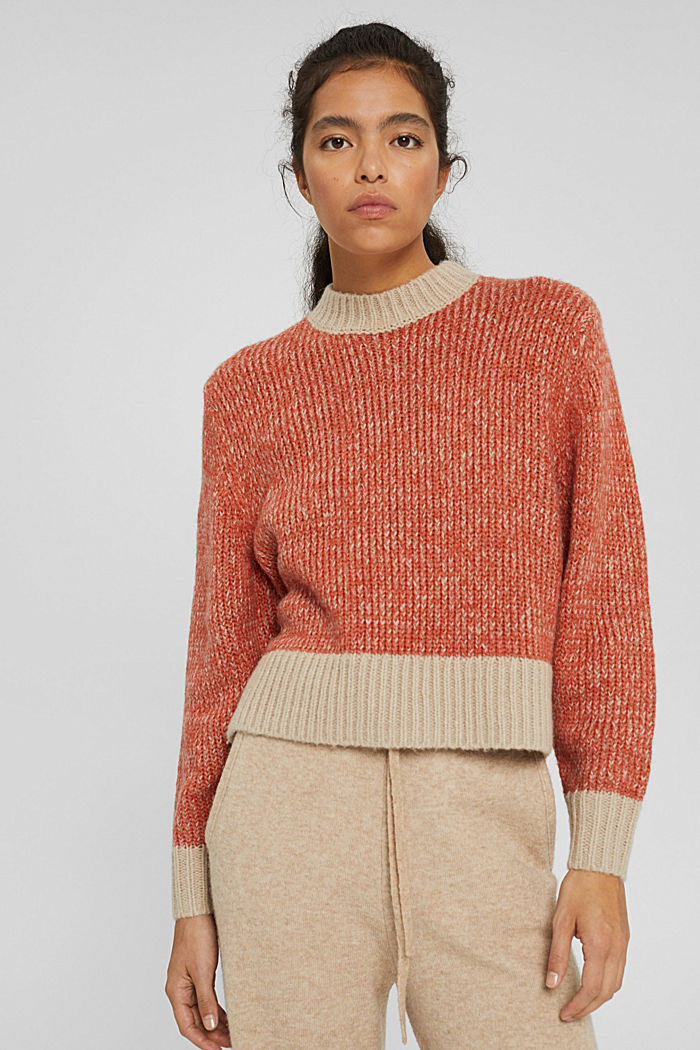 Mit Wolle: zweifarbiger Pullover, GOLDEN ORANGE, detail image number 0