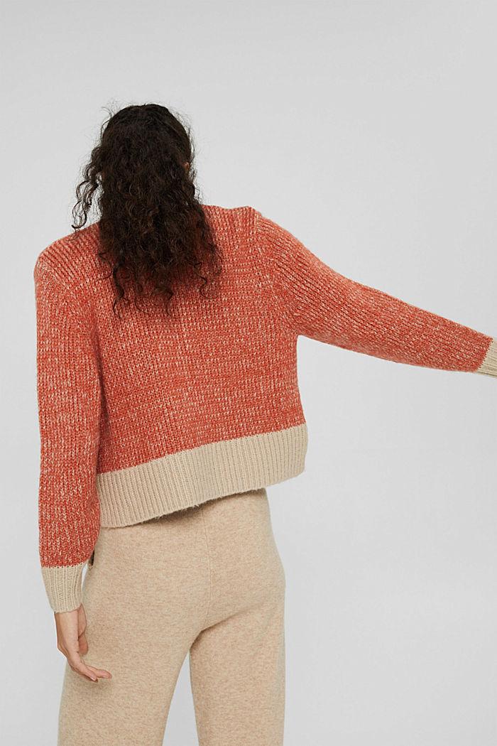 Mit Wolle: zweifarbiger Pullover, GOLDEN ORANGE, detail image number 3