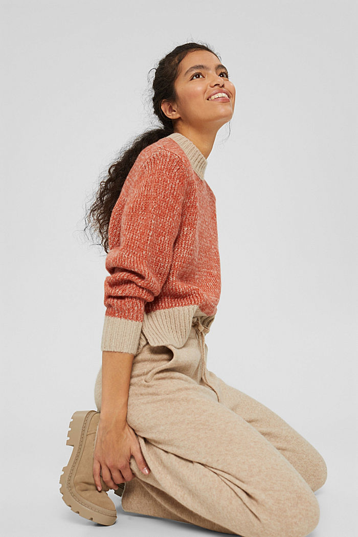 Mit Wolle: zweifarbiger Pullover, GOLDEN ORANGE, detail image number 5
