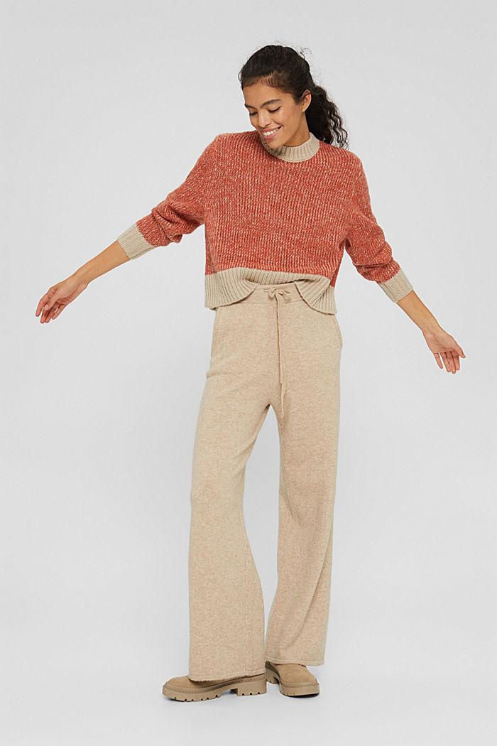 Mit Wolle: zweifarbiger Pullover, GOLDEN ORANGE, detail image number 7