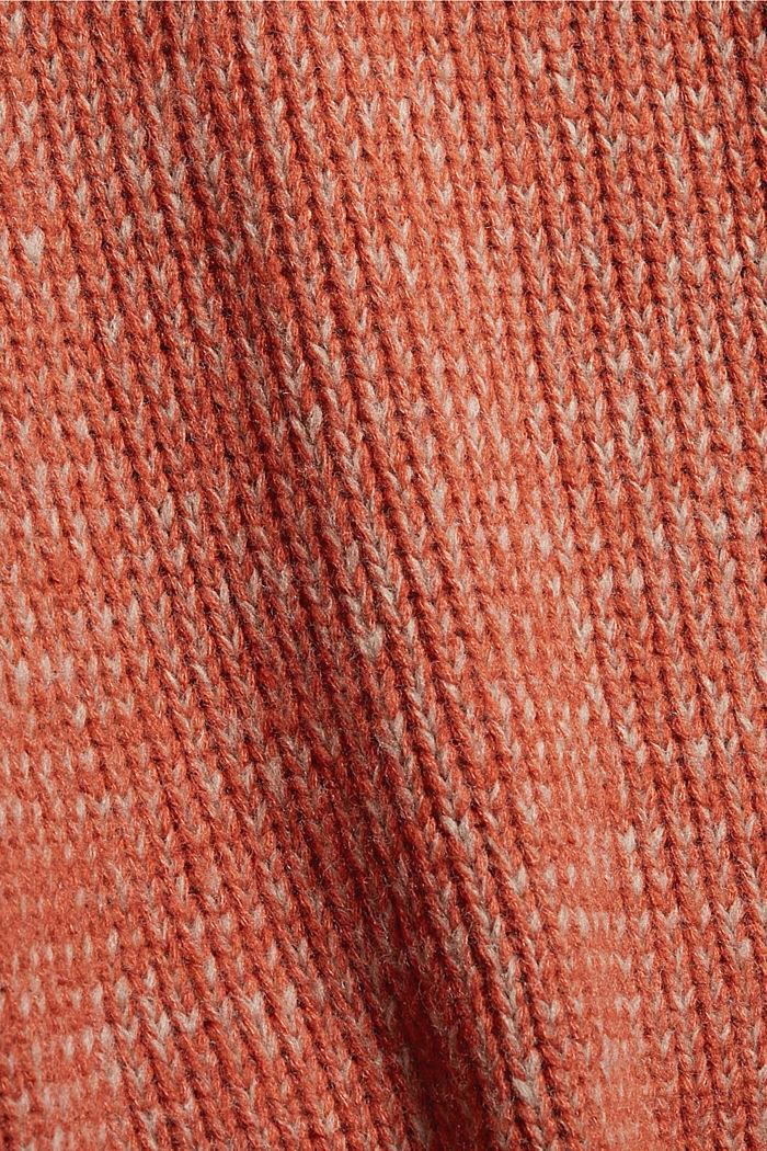 Mit Wolle: zweifarbiger Pullover, GOLDEN ORANGE, detail image number 4