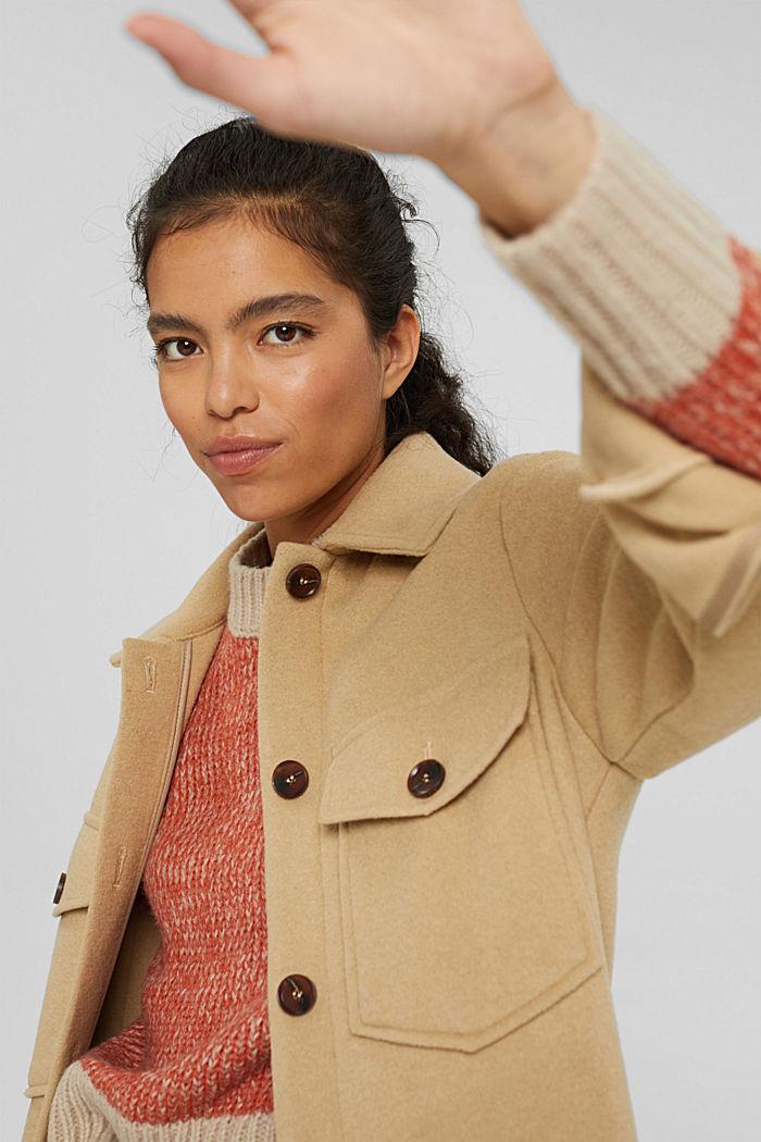 Mit Wolle: zweifarbiger Pullover, GOLDEN ORANGE, detail image number 6