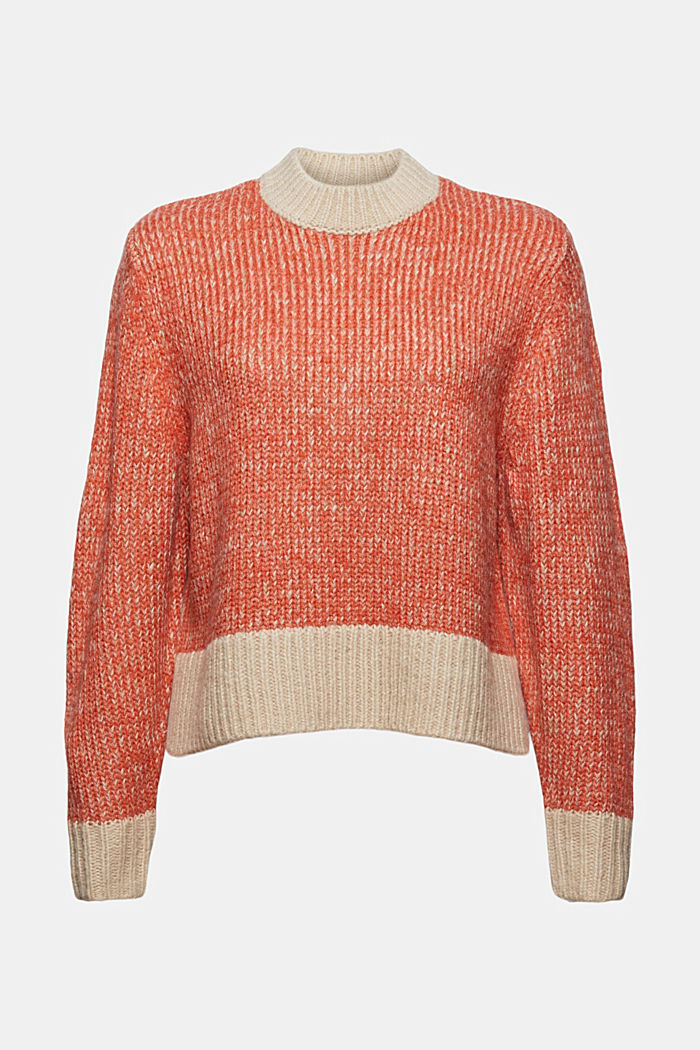 Mit Wolle: zweifarbiger Pullover, GOLDEN ORANGE, detail image number 8