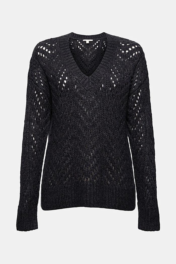 Mit Wolle: Pullover aus Lochmusterstrick