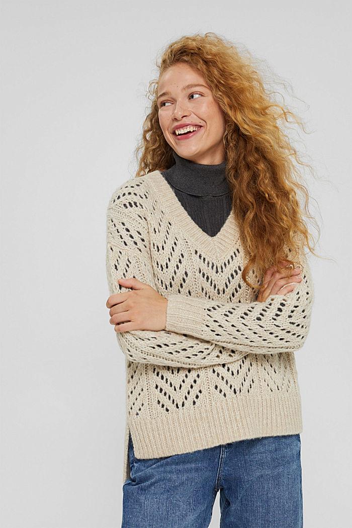 Mit Wolle: Pullover aus Lochmusterstrick, BEIGE, detail image number 0