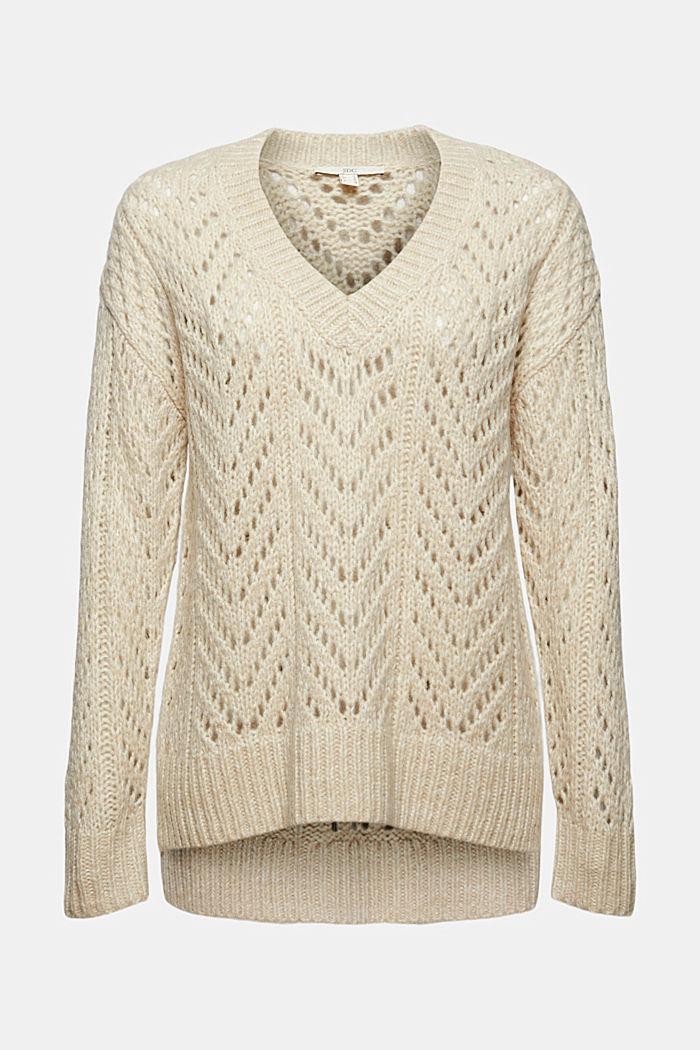 Mit Wolle: Pullover aus Lochmusterstrick, BEIGE, detail image number 6