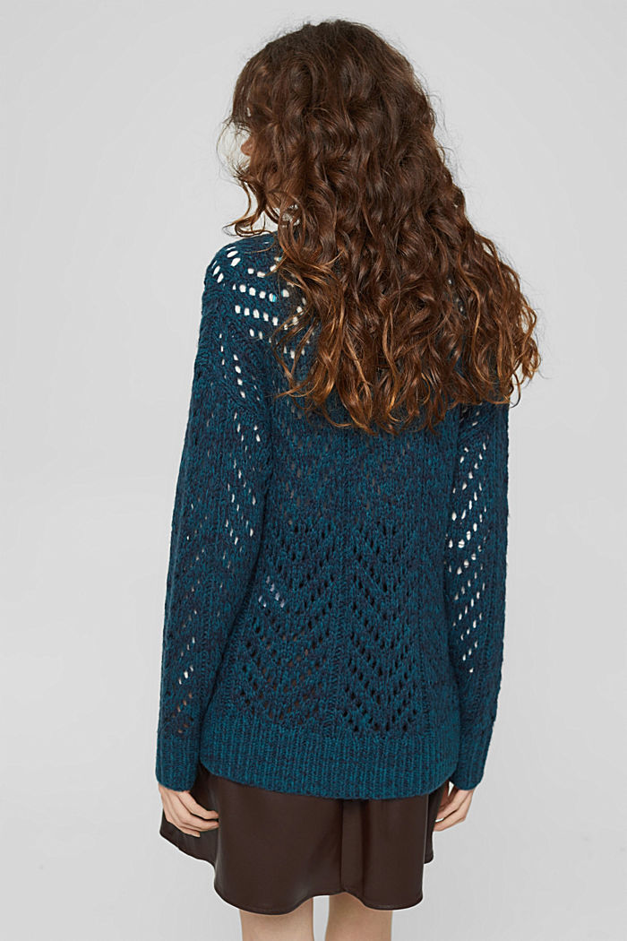 Mit Wolle: Pullover aus Lochmusterstrick, EMERALD GREEN, detail image number 3