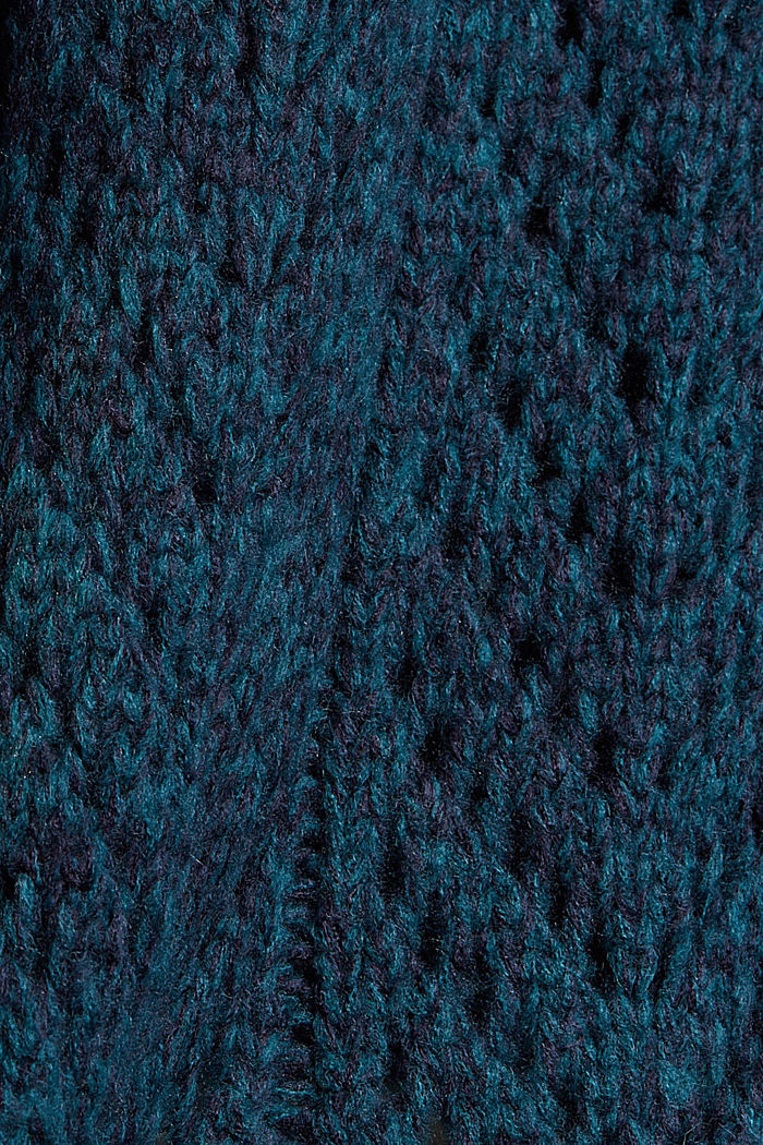 Mit Wolle: Pullover aus Lochmusterstrick, EMERALD GREEN, detail image number 4