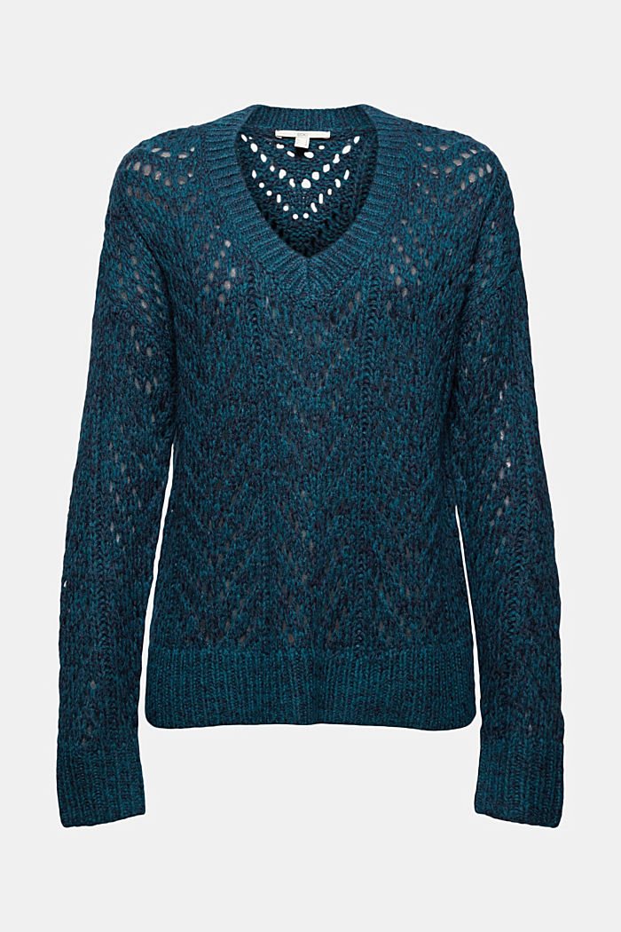 Mit Wolle: Pullover aus Lochmusterstrick, EMERALD GREEN, detail image number 5