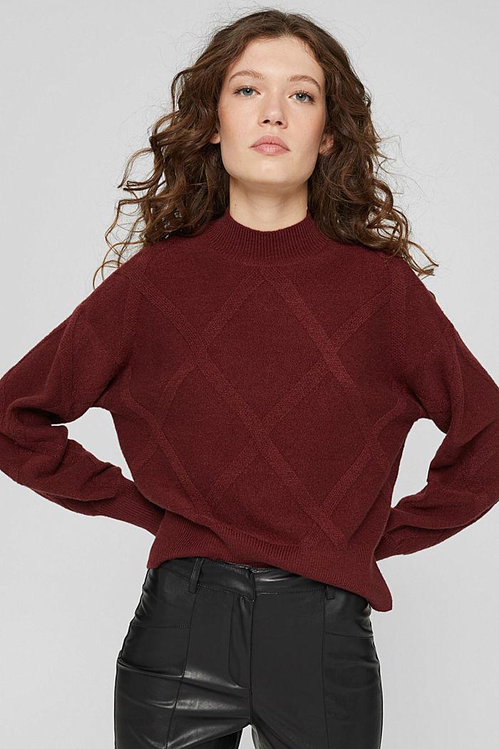 Met wol: trui met opstaande kraag, GARNET RED, detail image number 0