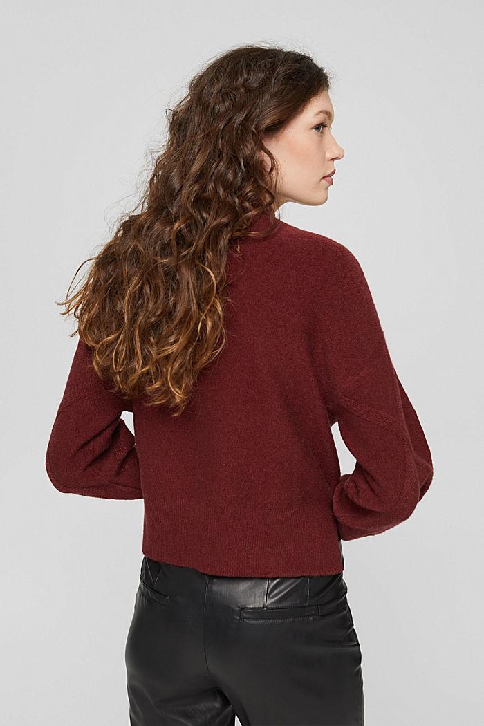 Met wol: trui met opstaande kraag, GARNET RED, detail image number 3