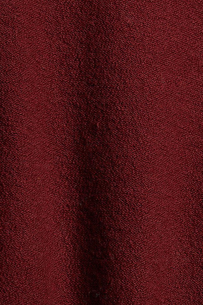 Met wol: trui met opstaande kraag, GARNET RED, detail image number 4