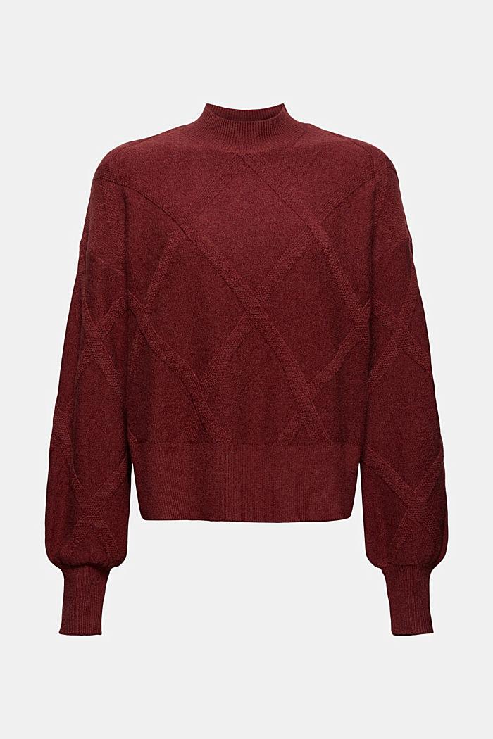 Met wol: trui met opstaande kraag, GARNET RED, detail image number 5