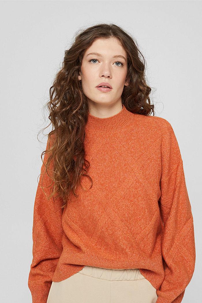 Mit Wolle: Pullover mit Stehkragen, GOLDEN ORANGE, detail image number 0