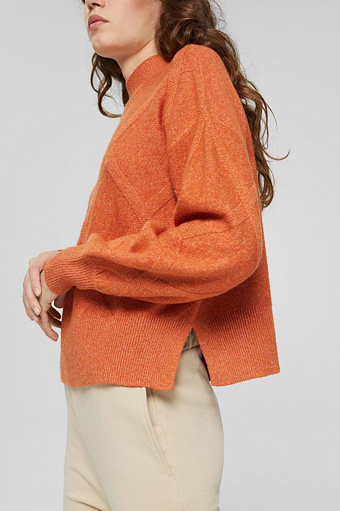 Mit Wolle: Pullover mit Stehkragen, GOLDEN ORANGE, detail image number 2