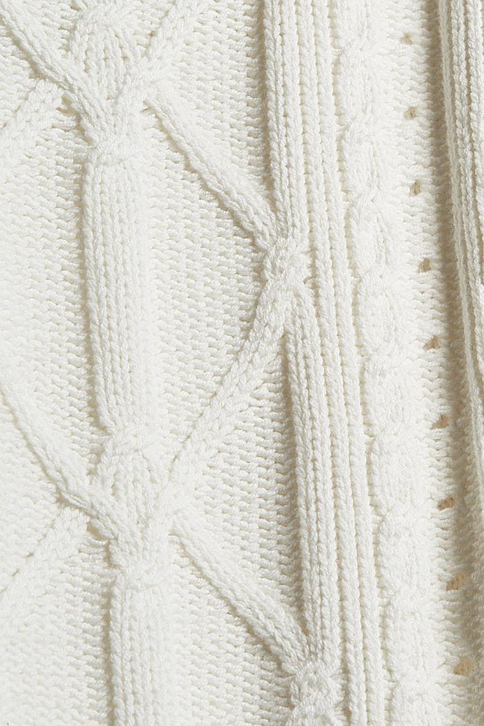 Troyer mit Zopfstrick aus Bio-Baumwoll-Mix, OFF WHITE, detail image number 4