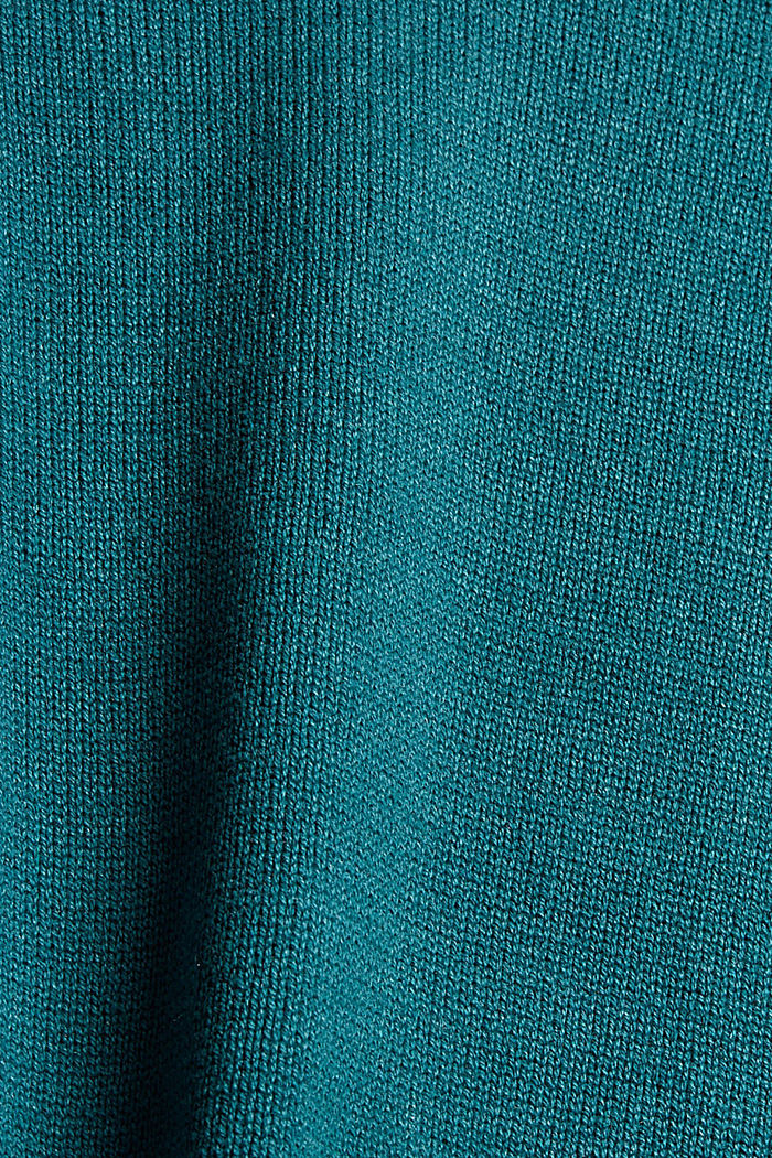 Rollkragen-Pullover aus Bio-Baumwoll-Mix, EMERALD GREEN, detail image number 4