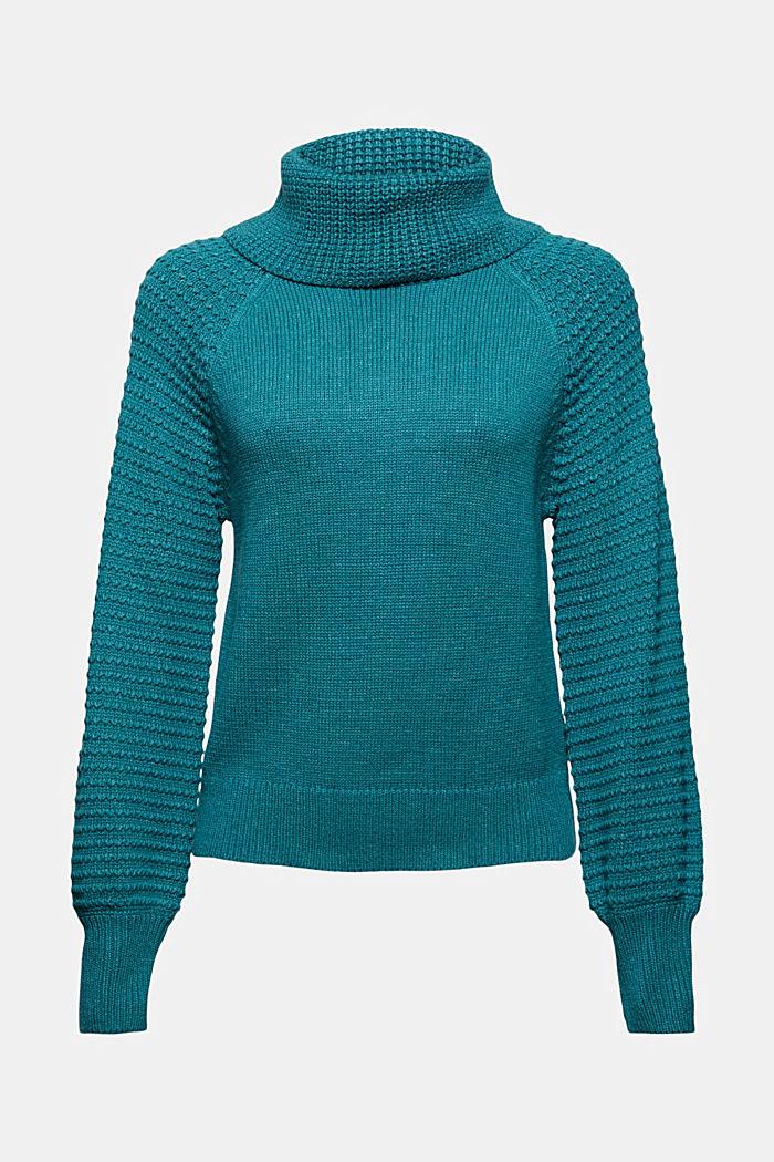 Rollkragen-Pullover aus Bio-Baumwoll-Mix, EMERALD GREEN, detail image number 7