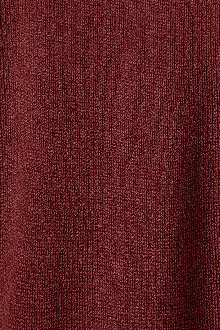 Pull-over à col roulé en coton biologique mélangé, GARNET RED, detail image number 4
