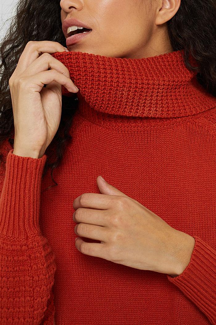Rollkragen-Pullover aus Bio-Baumwoll-Mix, GOLDEN ORANGE, detail image number 2