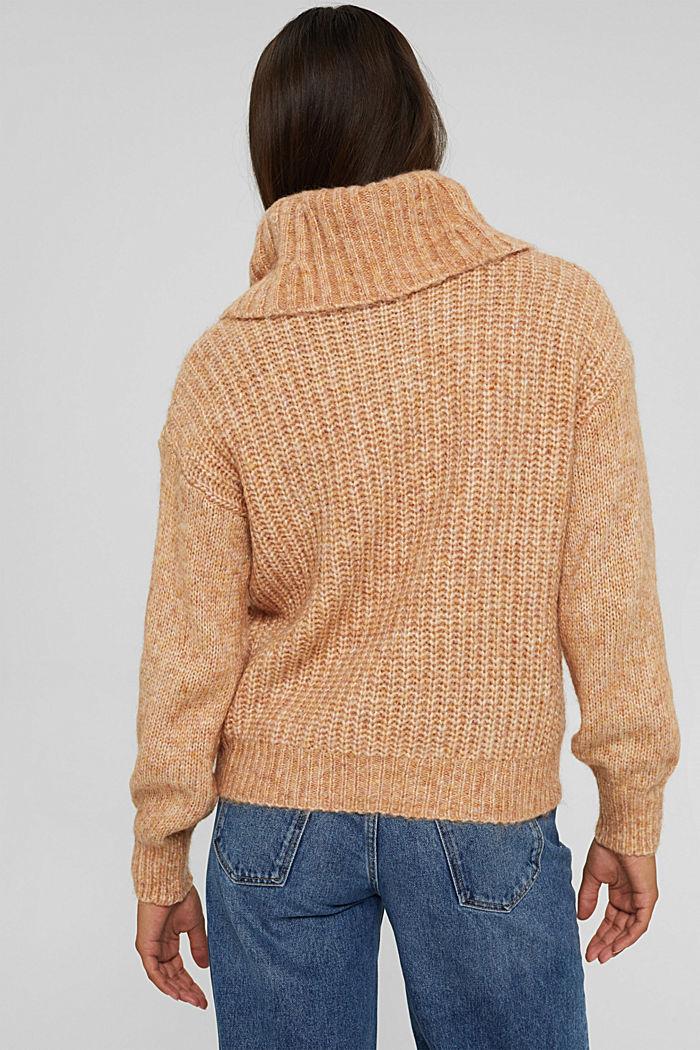 Pull-over en fil mouliné à col roulé et teneur en laine, BARK, detail image number 3