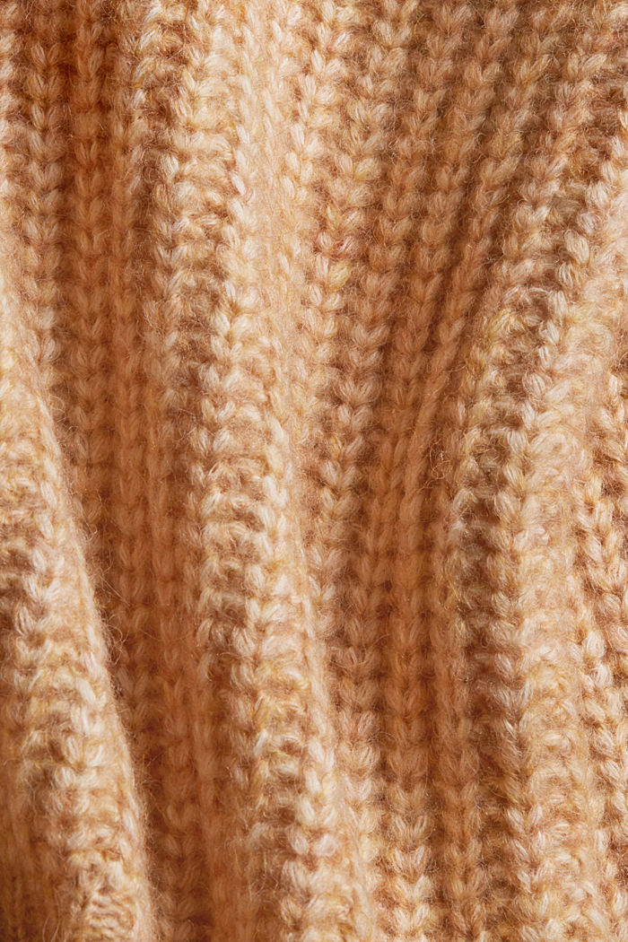 Pull-over en fil mouliné à col roulé et teneur en laine, BARK, detail image number 4