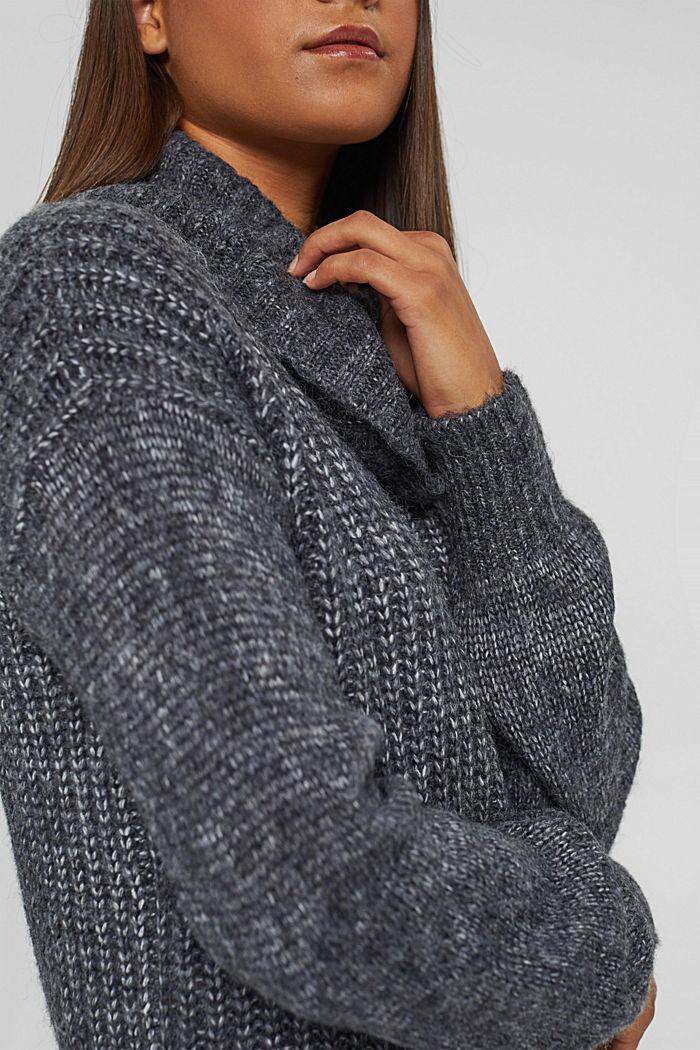 Mouline-Rollkragen-Pullover mit Woll-Blend, NAVY, detail image number 2