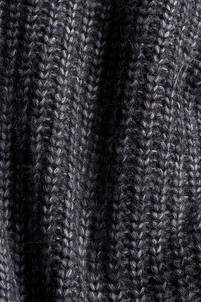 Mouline-Rollkragen-Pullover mit Woll-Blend, NAVY, detail image number 4