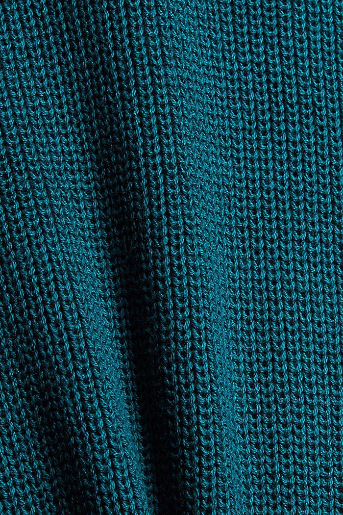 Rundhalspullover aus Baumwoll-Mix, EMERALD GREEN, detail image number 4