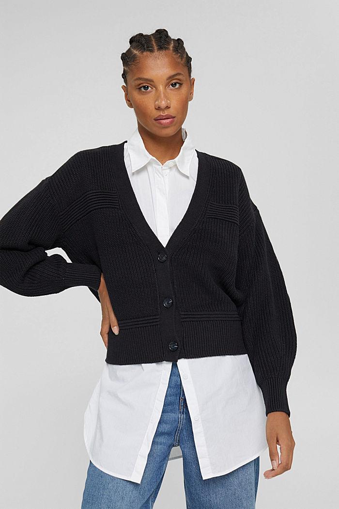 Fashion Cardigan, BLACK, detail image number 0