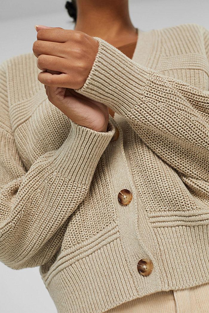 V-Ausschnitt Cardigan aus Baumwoll-Mix, BEIGE, detail image number 2