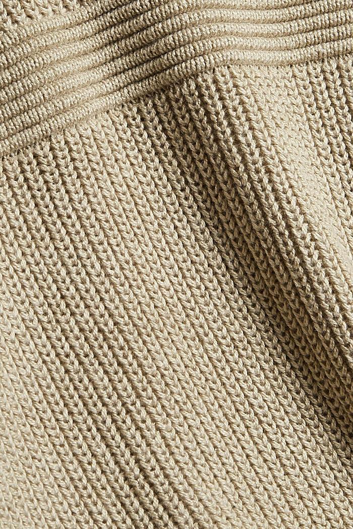 V-Ausschnitt Cardigan aus Baumwoll-Mix, BEIGE, detail image number 4