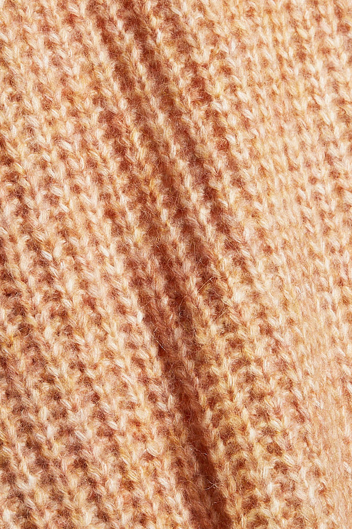Met wol: lang vest met capuchon, BARK, detail image number 4