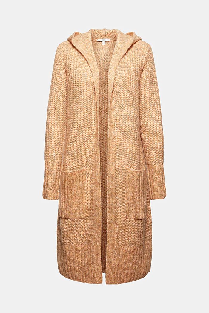 Mit Wolle: Long-Cardigan mit Kapuze