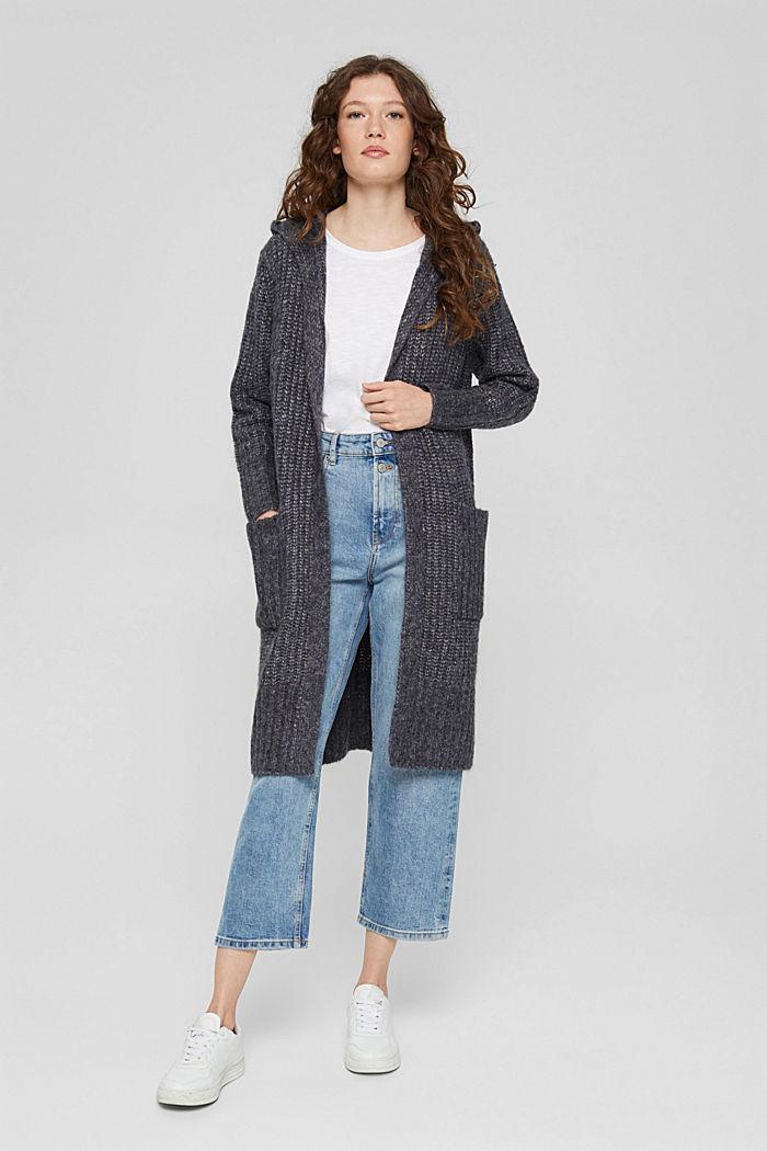 Met wol: lang vest met capuchon, NAVY, detail image number 0