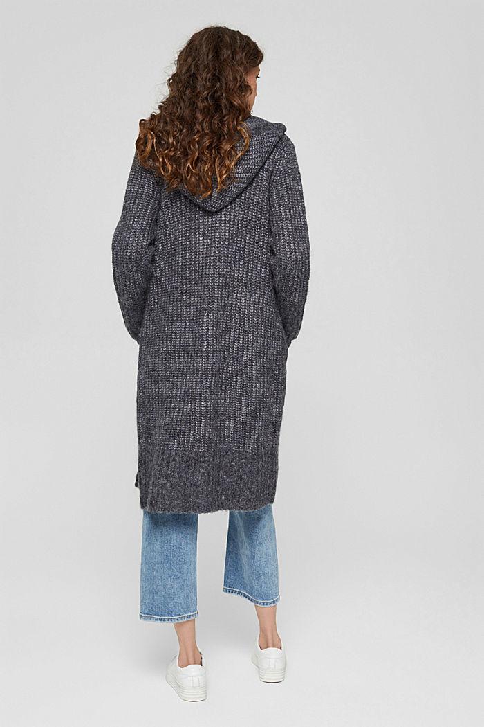 Met wol: lang vest met capuchon, NAVY, detail image number 3