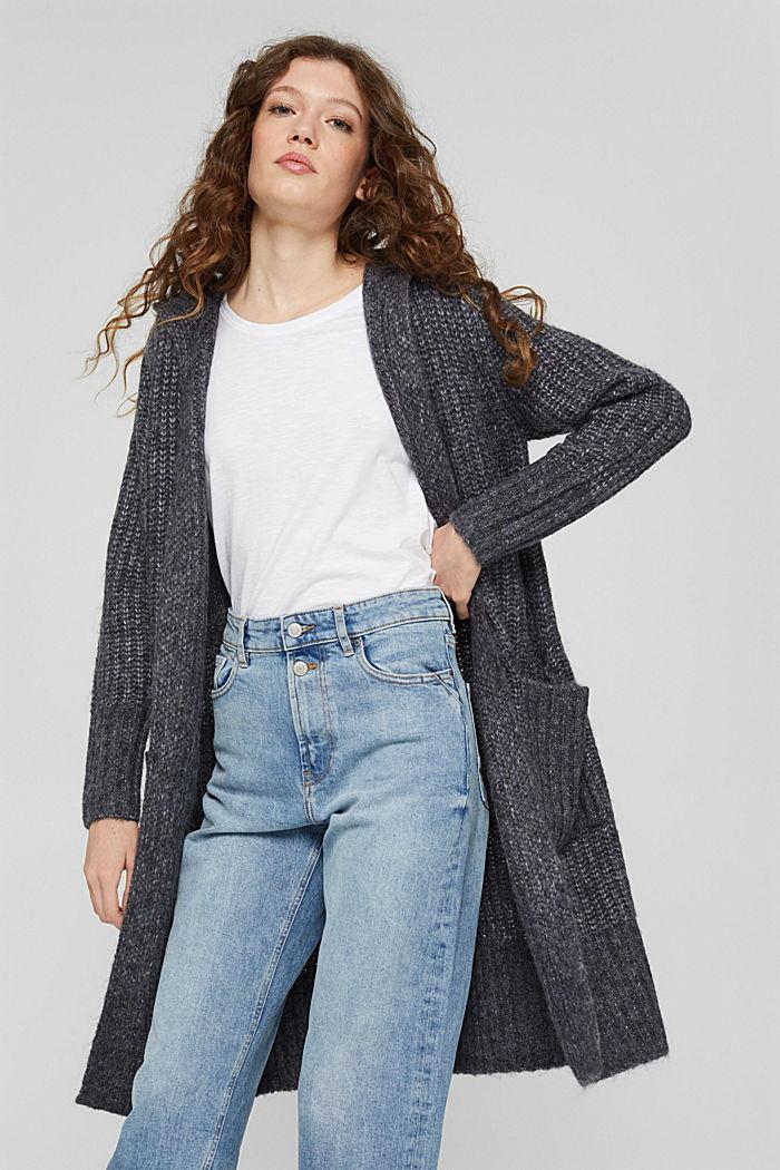 Met wol: lang vest met capuchon, NAVY, detail image number 5